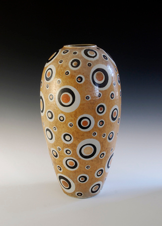 "Saturn Vase 17.75""x 9""x 9"" Cone 10 Wood Fired Porcelain (SOLD)"