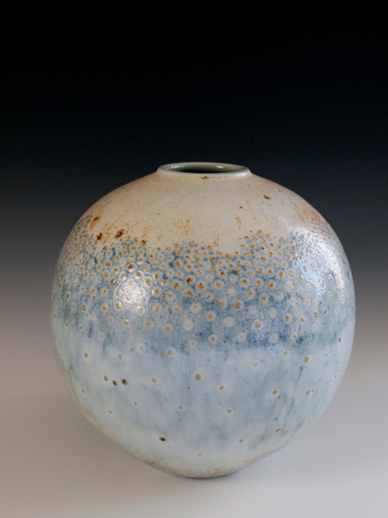 """Ball Vase 8 1/2"""" x 8 1/2"""" x 8 1/2"""" - Porcelain with Slip Decoration Wood-Fired Cone 10"""