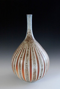 "Long Neck Striped Vase 14.5""x8.5""x8.5"" - Porcelain with Slip Decoration Wood-fired Cone 10"