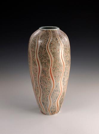 "Polka Dot Wavy Line Vase 11""x 5""x 5"" Cone 10 Wood Fired Porcelain"
