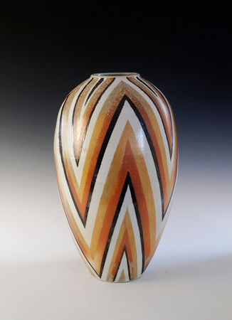 """V"" Design Vase 17.75""x 10""x 10"" Cone 10 Wood Fired Porcelain"