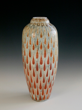 "Tear Drop Vase 11""x5""x5""  - Porcelain with Slip Decoration Wood-Fired Cone 10"