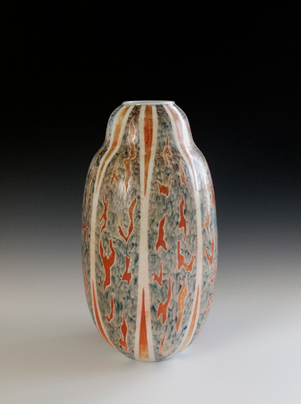 """Cut Paper Stripe Vase 12.5""""x6.5""""x6.5"""" - Porcelain with Slip Decoration Wood-fired Cone 10"""