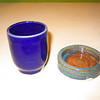 Test cup with MC6G GB#1 & Cobalt on the left (Royal Blue) and Varigated Glossy Blue and Oatmeal in a soy sauce dish on the right.