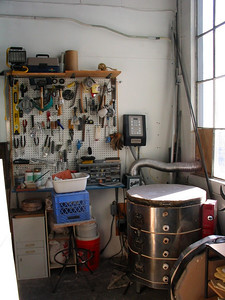 Kiln area.  With hand tools.  Power for kiln is INCLUDED in rent.  Woo-hoo!
