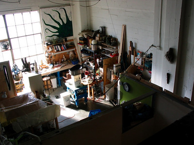 Tim's work area, from above in the loft.