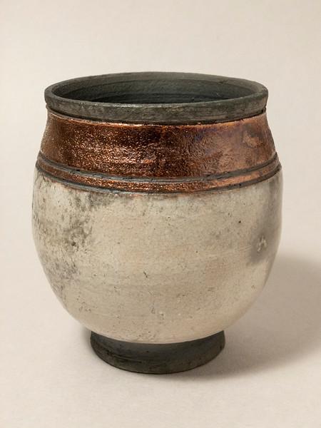 Pot with white raku glaze