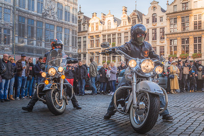 Motorcyclists in Grand Place. Brussels, Belgium