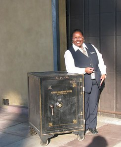 Santa Barbara station agent Stephanie McClinton helped move the safe outside from the Baggage Room.