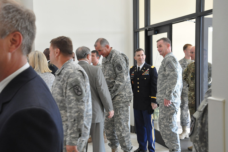 On 2 May 2012, Fort Benning leadership and Ben Patton gather in Patton Hall to dedicate eight buildings in Harmony Church to historic Armor leaders. Photo by 2LT Duncan Michel, 316 CAV BDE