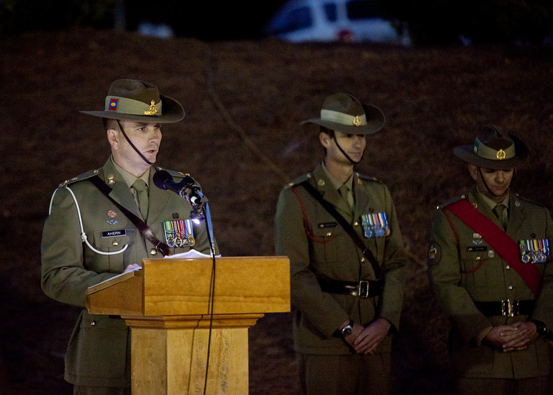 (FORT BENNING, Ga.) Soldiers and family members met for the Australian New Zealand Army Corps (ANZAC) Day Dawn Service, Thursday April 25, 2013 at the National Infantry Museum. The ceremony commemorated the 98th Anniversary of the storming onto the Gallipoli peninsula by the Australian and New Zealand Army Corps in the Dardanelles campaign during World War I, on the early hours of the 25 day of April, 1915.  (Photo by: Ashley Cross/MCoE PAO Photographer)