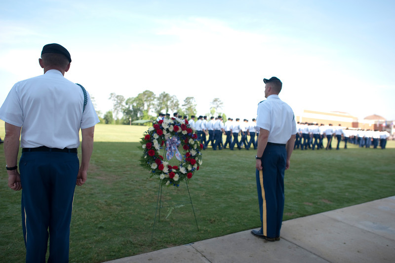 (FORT BENNING, Ga) Memorial Day Wreath Laying at OSUT Graduation May 24, 2014 at the National Infantry Museum. (Photos by: Patrick A. Albright/MCoE PAO Photographer)