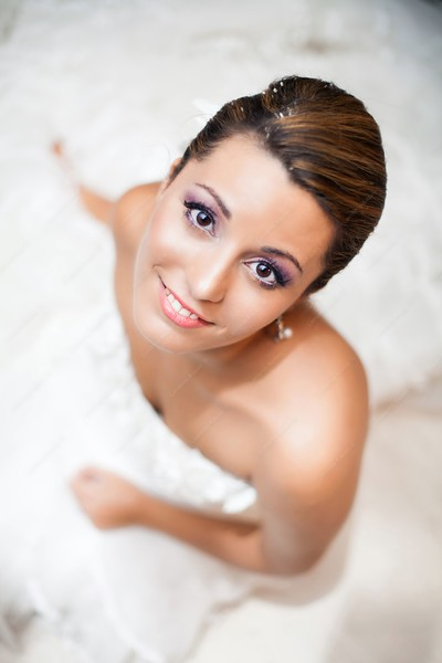 17566396 - happy bride, upper view portrait