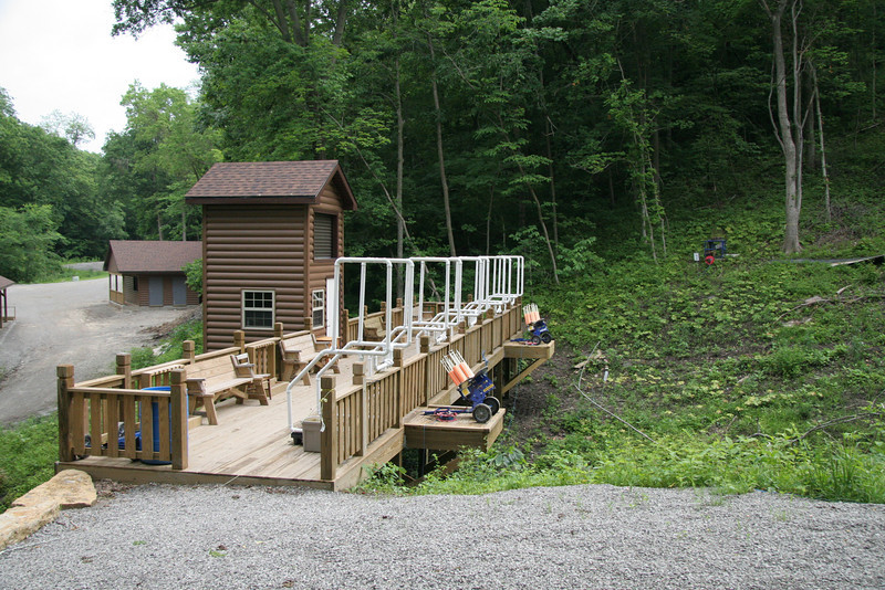 Five station shotgun shooting deck