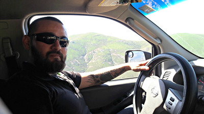 Ricardo drives up the mountain in my SUV. I am saving my energey.