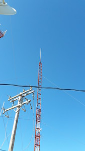 Club new tower with VHF antenna on top. Power pole not in service.