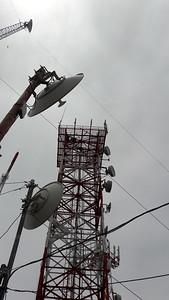 New VHF antenna at tower top corner