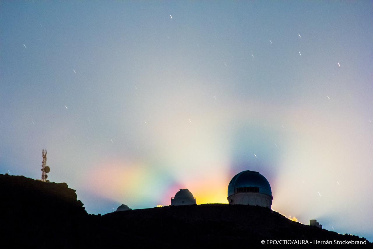Moon Rising between CTIO Telescope Domes