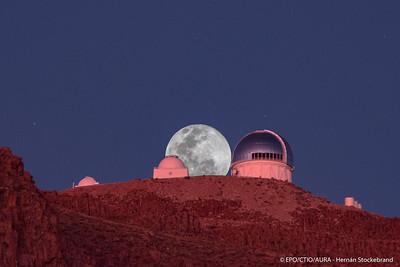 Full Moon Rising Between CTIO Telescope Domes