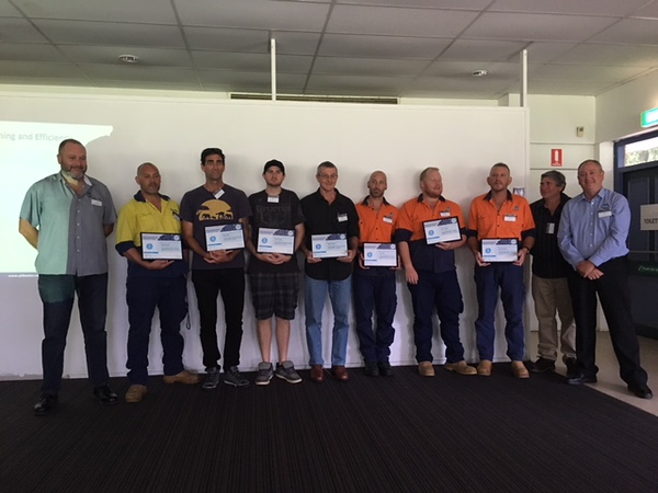 Certificate recipients with Dave Cameron and George Wall