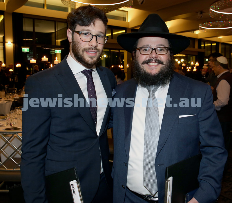 Chabad North Shore's Gala Dinner. Rabbi Moshe Angyalfi & Chanoch Sufrin.
