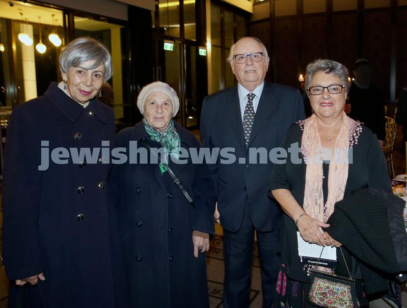Chabad North Shore's Gala Dinner. Shule founders, Sarah Sinclair, Chaya Bertram,Ivan Kessel, Sheila Lazarus.