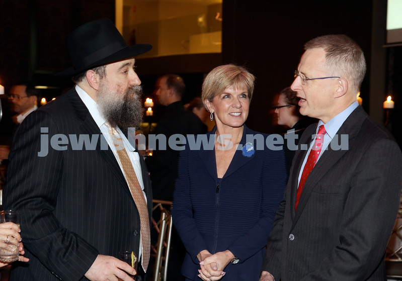 Chabad North Shore's Gala Dinner. Rabbi Nochum Schapiro, Juli Bishop MP and Paul Fletcher MP.