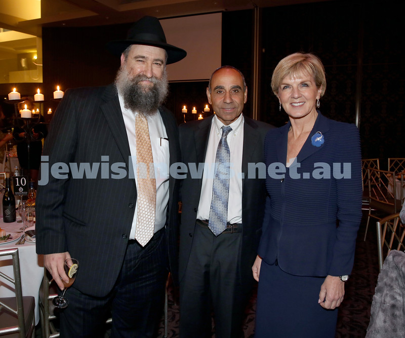 Chabad North Shore's Gala Dinner. Rabbi Nochum Schapiro, Saay Reuven, Julie Bishop MP.