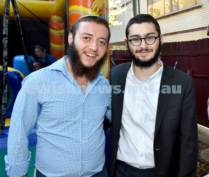Pre Rosh Hashana event at Rose Bay Chabad. Eliezer Tewel (left), Ephraim Balter. Pic Noel Kessel