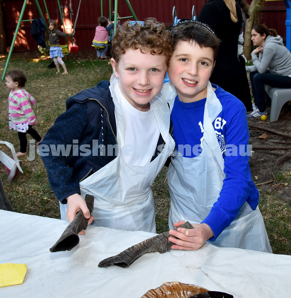 Shofar Factory at Chabad Rose Bay. From left: Jon Jon and Aiden Suntup. Pic Noel Kessel