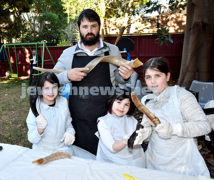 Shofar Factory at Chabad Rose Bay. Rabbi Elimelech Levy with his daughters (from left): Rosie, Rivka, Chana. Pic Noel Kessel