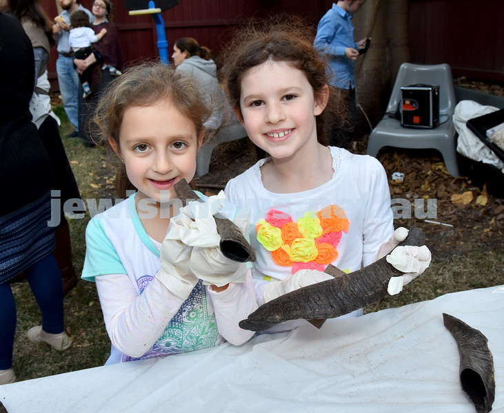 Shofar Factory at Chabad Rose Bay. Shayna Kavonic (left), Zoe Levy. Pic Noel Kessel
