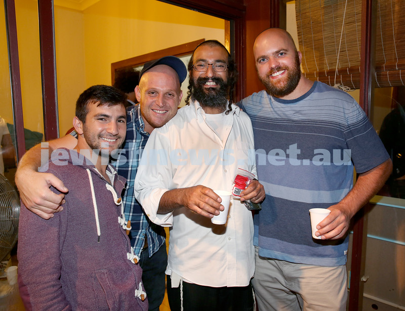 Chabad for Israeli backpackers, Purim Party. (from left) Yosef Simchon, Eitan Sadeh, Rabbi Alon Hazi, Avi Kramer. Pic Noel Kessel.
