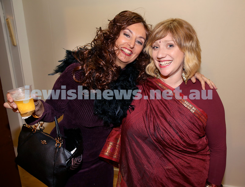 Chabad for Israeli backpackers, Purim Party. Margherita Damari (left) & Yehudit Hazi. Pic Noel Kessel.