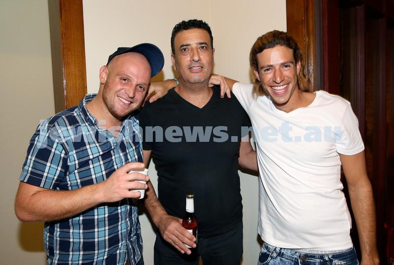 Chabad for Israeli Tourists, Purim Party. (from left) Eitan Sadeh, Yehuda Shmueli, Moshe Vanunu. Pic Noel Kessel.