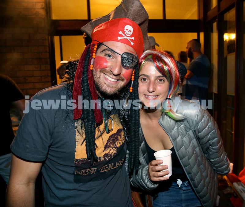 Chabad for Israeli backpackers, Purim Party. Ofek Woldenberg (left) & Or Magnezi. Pic Noel Kessel