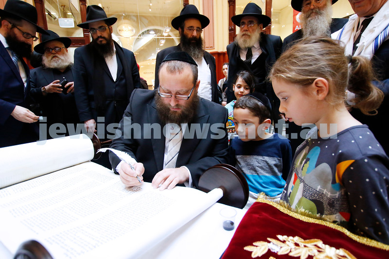 27-5-18. A new Torah for Chabad CBD, Melbourne. Final letters being filled in at the city's iconic Block Arcade. Sofer Eli Gutnick. Photo: Peter Haskin