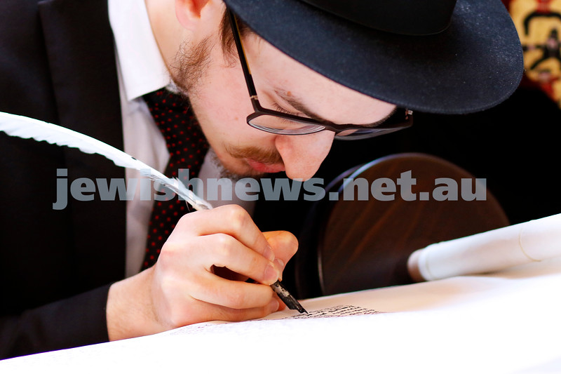 27-5-18. A new Torah for Chabad CBD, Melbourne. Final letters being filled in at the city's iconic Block Arcade. Sofer Shmuel Kesselman. Photo: Peter Haskin