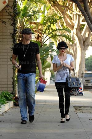 Chad Michael Murray and his true love fiancee Kenzie Dalton take a walk and making  shopping in Santa Monica,California.
