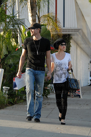 Chad Michael Murray and his true love fiancee Kenzie Dalton take a walk and making  shopping in Santa Monica,California.