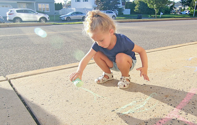 "Savanah Hidalgo (CQ), from boro. Nellie Bennett Eleementary School's ""Chalk the Walk"" event in Point Pleasant Boro, NJ on 9/3/19. [DANIELLA HEMINGHAUS]"
