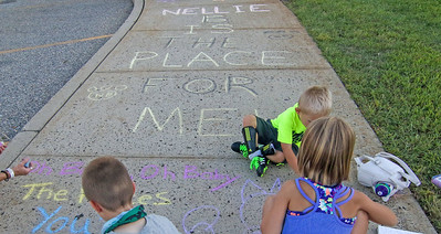 "Nellie Bennett Eleementary School's ""Chalk the Walk"" event in Point Pleasant Boro, NJ on 9/3/19. [DANIELLA HEMINGHAUS]"