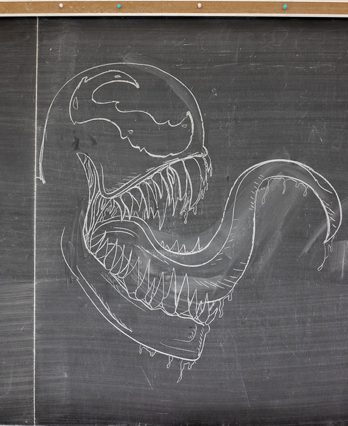 Chalk art of Venom, the main character in Marvels newest movie. (Jordan Koster|Collegian Media Group)