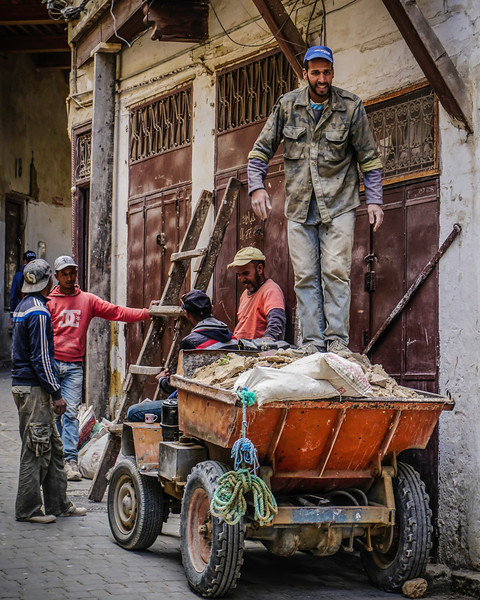Moroccan Workers Fixing a Marketplace