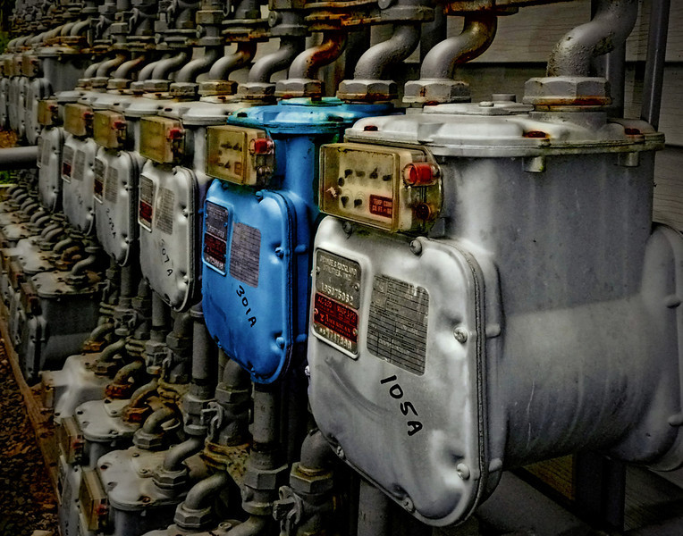 One Blue Gas Meter