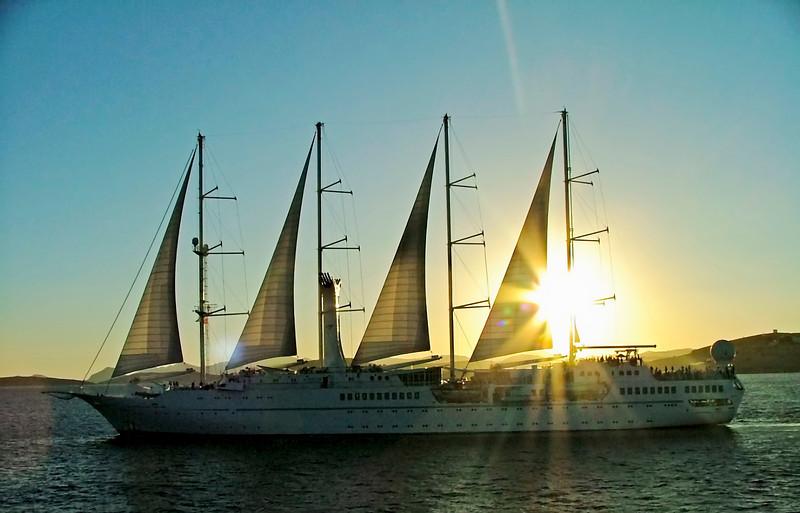 Sailing the Aegean Sea at Sunset