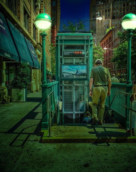 NYC Subway Entrance at Night