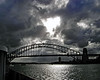 Light shines on the Sydney Harbor Bridge