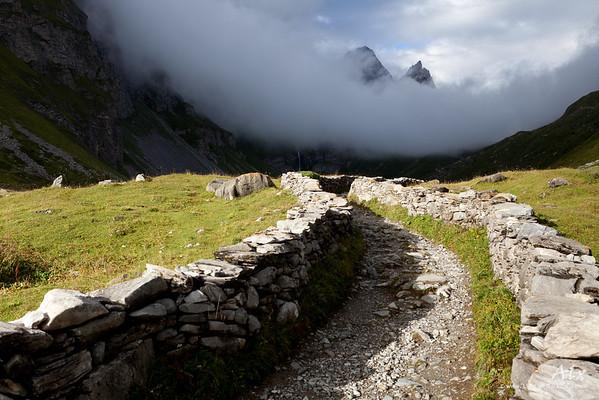 Le Chemin  Parc de la Vanoise, chemin vers le col de la Vanoise derrière le refuge des Barmettes La magie de cet instant entre ombre et lumière , les courbes qui se répondent et se rencontrent, m'ont inexorablement attiré.