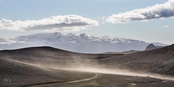 Mýrdalsjökull glacier seen from the black desert of Mælifellssandur